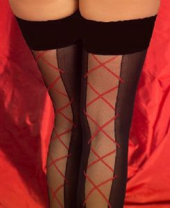 Black Hold Up Lace Up Design Stockings